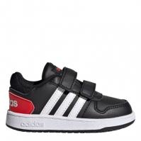 Adidasi sport adidas Hoops Court baietei negru alb rosu