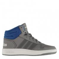Adidasi inalti adidas Hoops Mid 2.0 pentru baietei gri albastru alb