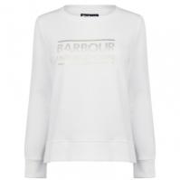 Bluza de trening Barbour International cu guler rotund alb