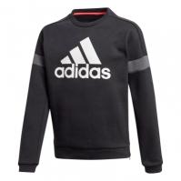 Bluza de trening Pulovere adidas Branded Crew pentru baieti negru alb