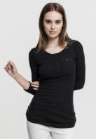Bluze casual cu nasturi si cu buzunar la piept pentru Dama negru Urban Classics
