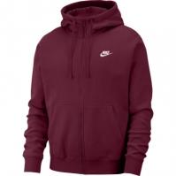 Bluze Hanorac Nike Sportswear Club Full-cu fermoar pentru Barbat rosu burgundy