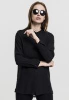 Camasa sifon cu maneca lunga si mai lunga in spate pentru Dama negru Urban Classics