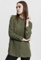 Camasa sifon cu maneca lunga si mai lunga in spate pentru Dama oliv-deschis Urban Classics