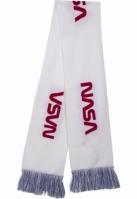 Esarfa NASA tricot albastru-rosu Mister Tee alb