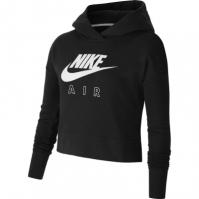 Hanorac Nike Air Cropped pentru fetite negru alb