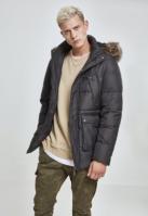 Jacheta blana artificiala cu gluga negru