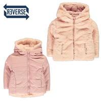 Jacheta Crafted roz cu doua fete blana artificiala pentru fete pentru Copil