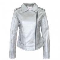 Jacheta Lee Cooper cu fermoar PU pentru Dama argintiu