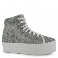 Jeffrey Campbell Play Homg Lace Platform Shoes inchis gri