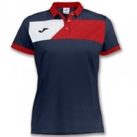 Tricouri polo Joma Crew II cu maneca scurta bleumarin-rosu pentru Dama