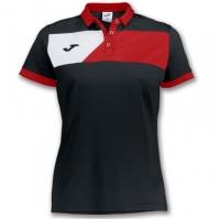 Tricouri polo Joma Crew II cu maneca scurta negru-rosu pentru Dama