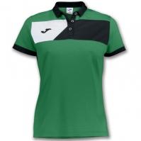 Tricouri polo Joma Crew II cu maneca scurta verde-negru pentru Dama