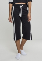 Pantaloni Culottes Taped Terry pentru Dama negru-alb Urban Classics