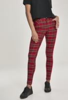 Pantaloni Skinny Tartan pentru Dama rosu-negru Urban Classics