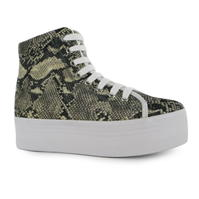 Jeffrey Campbell Play Homg Snake Platform Shoes gri bej