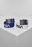 Set de 2 Curea NASA extra long albastru-alb Mister Tee