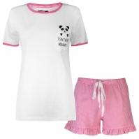 Set pijama cu pantaloni scurti Rock and Rags Frill pentru Dama