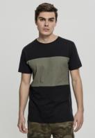 Tricou bumbac contrast negru-oliv Urban Classics