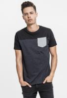 Tricou cu buzunar trei culori gri-carbune Urban Classics negru