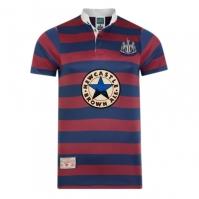Tricou Deplasare Score Draw Newcastle United 1996 pentru Barbat rosu burgundy albastru