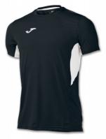 Tricou jogging Record Joma II negru-alb cu maneca scurta