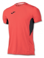 Tricou jogging Record Joma II Orange Fluor-negru cu maneca scurta