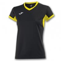 Tricouri sport Joma T- Champion Iv negru-galben cu maneca scurta pentru Dama
