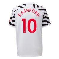 Tricou sport Third adidas Manchester United Marcus Rashford 2020 2021 pentru Copil alb negru
