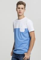 Tricou vara cu buzunar Color Block albastru-alb Urban Classics horizon