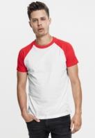 Tricouri casual in doua culori pentru Barbat alb-rosu Urban Classics
