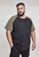 Tricouri casual in doua culori pentru Barbat negru-oliv Urban Classics