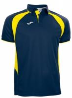 Tricouri polo Joma Champion III bleumarin-galben cu maneca scurta