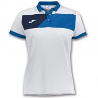 Tricouri polo Joma Crew II cu maneca scurta alb-royal pentru Dama albastru roial