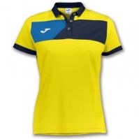 Tricouri polo Joma Crew II cu maneca scurta galben-bleumarin pentru Dama