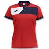 Tricouri polo Joma Crew II cu maneca scurta rosu-bleumarin pentru Dama