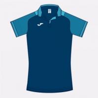 Tricouri polo Joma Essential II bleumarin inchis-fluor turcoaz cu maneca scurta