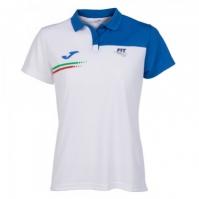 Tricouri polo Joma Fed tenis Italy alb cu maneca scurta pentru Dama