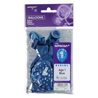 Partymor Balloons . of 6 age albastru