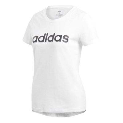 Tricou alb bumbac adidas Essentials Linear femei