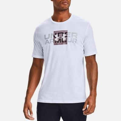 Tricou alb Under Armour Box Logo Wordmark 1357156-100 barbati