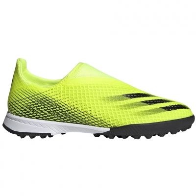 Pantof Minge Fotbal adidas X Ghosted.3 LL TF yellow and black FW6982 copil