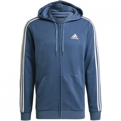 Bluza trening Hanorac Men's  adidas Essentials 3 Stripes FZ FL blue GK9035