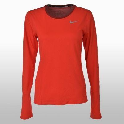 Bluza alergare portocalie cu maneca lunga Nike Breathe Running Femei shades of rosu
