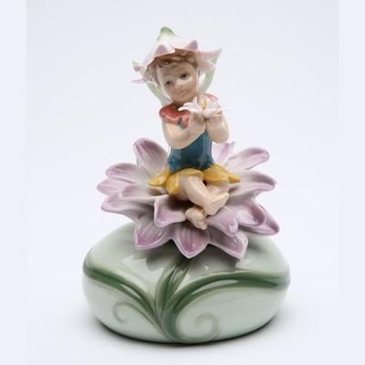 Cutiuta muzicala de portelan - Zana si Floare Mov