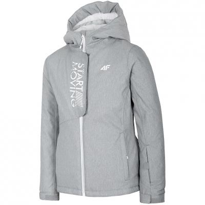 Geaca Ski for 4F cool light gray melange HJZ20 JKUDN001A 27M fetita