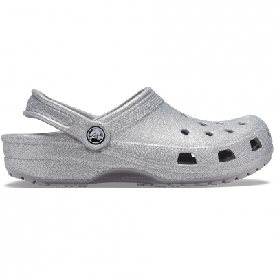 's Crocs Classic Glitter Clog Silver 205942 040 dama