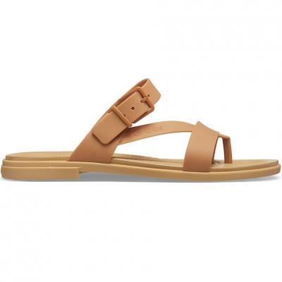 Sanda Crocs 's Tulum Toe Caramel Post 206108 277 dama