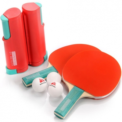 Meteor Sunrise Rollnet ping pong set with net 2 rackets 3 balls red 15044
