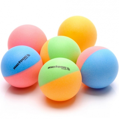 Set of 6 ping pong balls Meteor Rainbow colored 15027